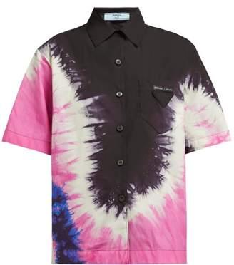 Prada Tie-dye Collared Cotton-poplin Shirt - Womens - Pink Multi