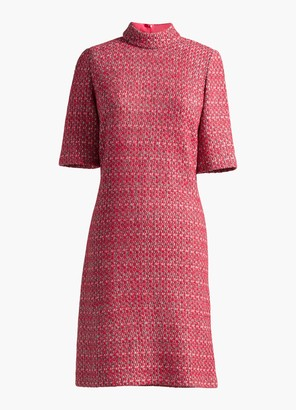 St. John Artisanal Basketweave Mock Neck Dress