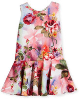 Helena Sleeveless Floral Jacquard Flounce Dress, Multicolor, Size 2-6