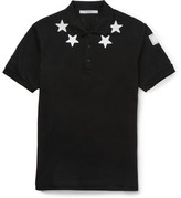 Givenchy Cuban-fit Star-appliquéd Cotton-piqué Polo Shirt