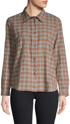 A.P.C. Plaid Button Down Cotton Blouse