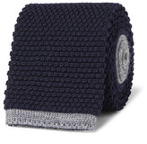 Canali 8cm Two-tone Knitted Wool Tie - Navy