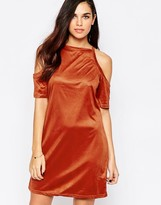 AX Paris Cold Shoulder Dress in Suede Effect Fabric