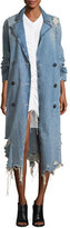 Alexander Wang Distressed Double-Breasted Trench Denim Coat