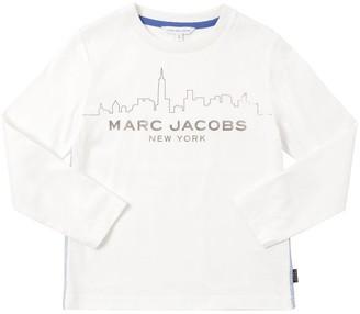 Little Marc Jacobs Skyline Printed Cotton Jersey T-shirt
