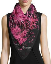 Anna Coroneo Lava-Print Silk Square Scarf, Pink