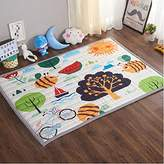 Ustide Baby Play Mat Cotton Floor Gym - Non-Toxic Non-Slip Reversible Washable, Large (Happy Forest)