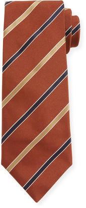 Canali Contemporary Rep Striped Silk Tie, Rust