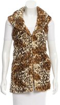 Alice + Olivia Leopard Print Faux Fur Vest