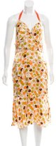 Vera Wang Polka Dot Print Silk Dress