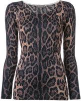 N.Peal cashmere super fine print top - women - Cashmere - S