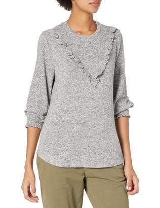 Lucky Brand Women's Long Sleeve Scoop Neck Cloud Jersey Ruffle Top