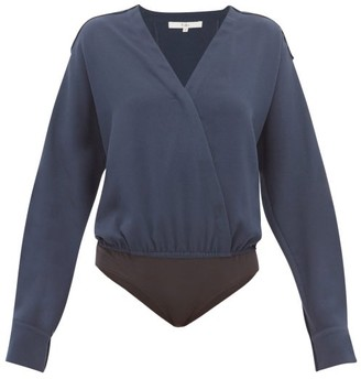 Tibi Savannah Wrap Crepe Bodysuit - Navy