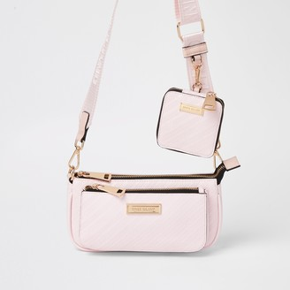 River Island Womens Pink RI embossed pouchette cross body bag