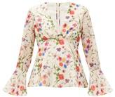 Borgo de Nor Fleurette Floral-print Cotton-blend Blouse - Womens - White Print