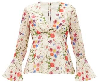 Borgo de Nor Fleurette Floral-print Cotton-blend Blouse - White Print