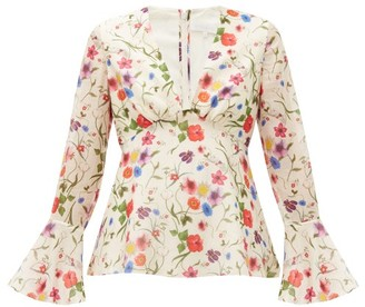 Borgo de Nor Fleurette Floral Print Cotton Blend Blouse - Womens - White Print
