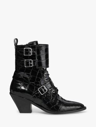 AllSaints Alix Leather Lace Up Ankle Boots, Black