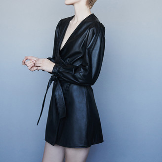 Maje Leather wrap dress