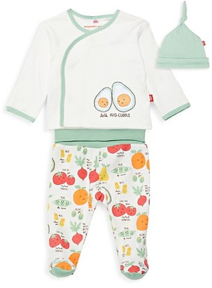 Magnetic Me Baby Girl's Perfect Puns Avocado 3-Piece Hat, Top Footie Pants Set