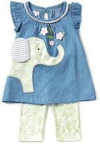 Mud Pie Baby Girls 12-18 Months Elephant Chambray A-Line Dress & Floral/Leaf-Print Leggings Set