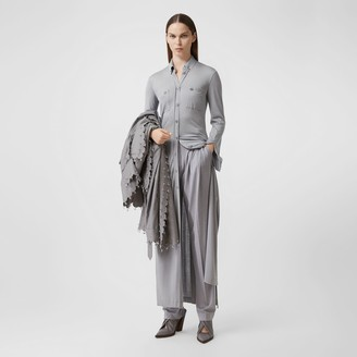 Burberry Side-slit Wool Silk Jersey Shirt Dress