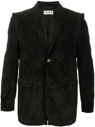 Saint Laurent Leather Stitched Blazer