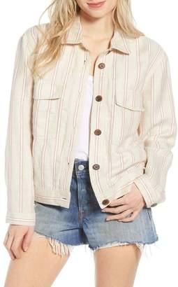 Hinge Stripe Linen Blend Trucker Jacket