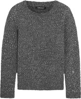 DKNY Sequined textured-knit sweater