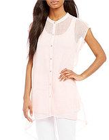 Eileen Fisher Mandarin Collar Cap Sleeve Shirt