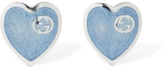 Gucci Interlocking G Enamel Heart Earrings
