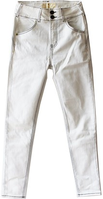 Tri Colour Federation Organic Cotton Off White High Waisted Slim Fit Jean