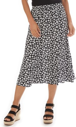 Apt. 9 Women's Print Challis Pull-On Trumpet Skirt