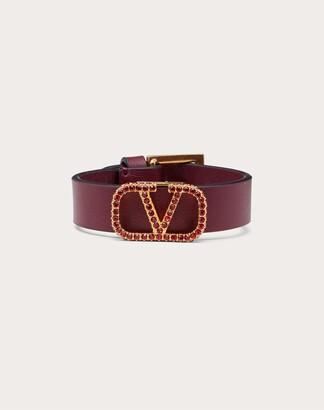 Valentino Vlogo Signature Leather Bracelet Women Maroon Calfskin 100% OneSize