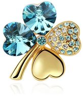 Gold plated Clover Brooch made with a Blue Crystal from Swarovski CRY A501 G - Blue Pearls
