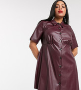 Asos DESIGN Curve leather look mini shirt dress in burgundy