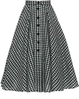 Lena Hoschek Oscar Gingham Piqué Midi Skirt