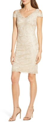 Tadashi Shoji Embroidered Cold Shoulder Sheath Dress
