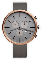 Uniform Wares M42 Men's chronograph watch in PVD rose gold with dark grey nitrile rubber strap