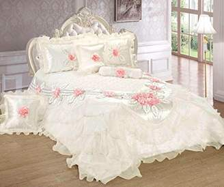 Tache Home Fashion Delicate Rose 6 Piece Floral White Luxurious Comforter Set Queen Pink