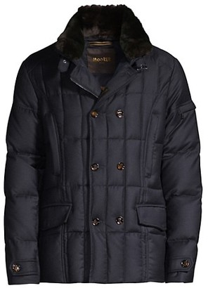 Moorer Rabbit Fur-Trimmed Quilted Wool & Cashmere Double-Breasted Jacket