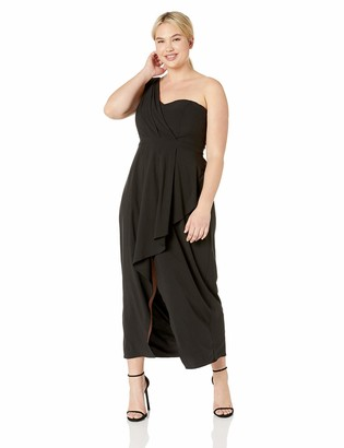 City Chic Women's Apparel Women's Plus Size Formal Asymmetrical Maxi Dress with Single Shoulder