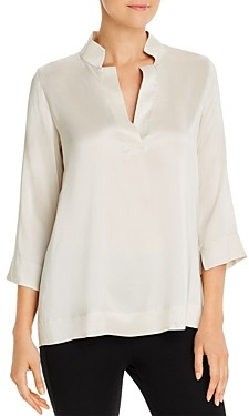 Eileen Fisher Petites Silk Stand-Collar Blouse