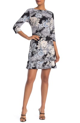 Sandra Darren 3/4 Length Sleeve Floral Print ITY Knit Shift Dress