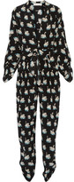 Stella McCartney Monia Printed Silk-crepe Jumpsuit - Black