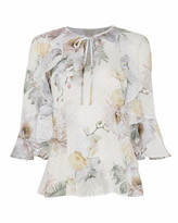 Ted Baker Mariiey Woodland Ruffle Top With Keyhole Detail