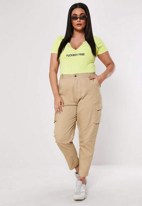 Missguided Plus Size Sand Straight Leg Cargo Pants