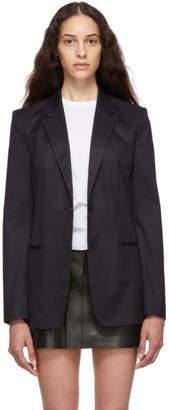 Helmut Lang Navy Resin Cotton Twill Blazer