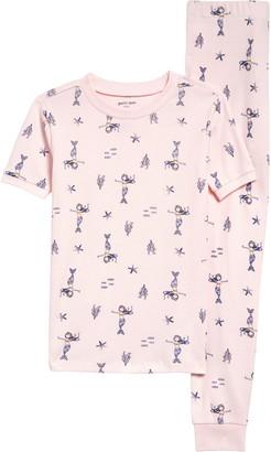Petit Lem Mermaids Print Fitted Two-Piece Pajamas