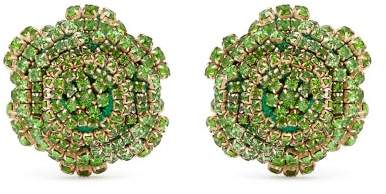 Rebecca De Ravenel Ava Crystal Embellished Rose Earrings - Womens - Green